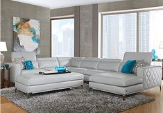 picture of Sofia Vergara Sorrento Platinum Left 5 Pc Sectional Living Room from Living Room Sets Furniture