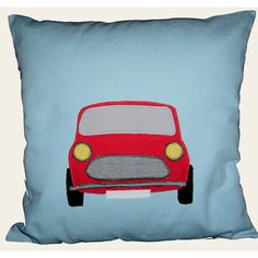 Appliqued cushion with mini (car)