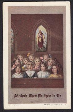 Artist-Mary LaFetra Russell-Children-Church-Shepherd-Antique Postcard