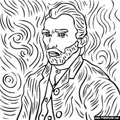 free coloring page of Vincent Van Gogh painting - Self Portrait. - free coloring page of Vincent Van Gogh painting – Self Portrait. You be the master painter! Van Gogh Drawings, Van Gogh Paintings, Easy Paintings, Your Paintings, Vincent Van Gogh, Inspiration Art, Art Inspo, Desenhos Van Gogh, Van Gogh Self Portrait