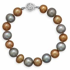 """7.25"""" Gold and Grey Cultured Freshwater Pearl Bracelet Jewelry Dreamer. $33.08"""