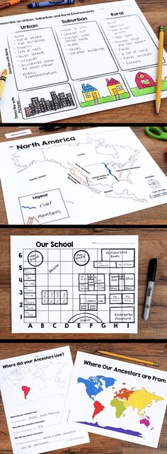 A Location and Map Skills Social Studies Unit that teaches students about North American landforms, urban, rural, and suburban communities, grid maps, and family history.  A perfect unit for first, second, and third grades.