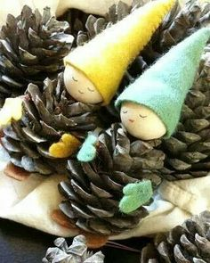 they're so cute  Diy Pine Cone Gnome Ornaments