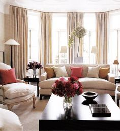 Carlos Mota ~ The elegant living room has a floor-to-ceiling bay window and a moulded ceiling Beige Living Rooms, Living Room Red, Elegant Living Room, Living Room Windows, Living Room Decor, Modern Living, Living Room Inspiration, Home Decor Inspiration, Window Treatments Living Room