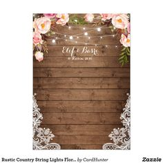 Shop Rustic Country String Lights Floral Lace Wedding Invitation created by CardHunter. Lilac Wedding, Wedding Colors, Wedding Bouquets, Wedding Flowers, Dream Wedding, Lace Wedding Invitations, Wedding Invitation Templates, Wedding Cards, Event Invitations