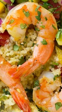 Shrimp and Couscous Foil Packets with Avocado-Mango Salsa