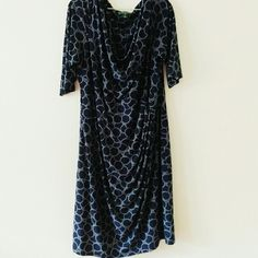 Ralph Lauren navy/white circle drape dress 3/4 length sleeves, only used for modeling/display Ralph Lauren Dresses