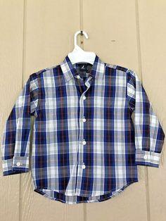 Nwt Nautica Boys Shirt Button Down Long Sleeve Shirt Plaid Multi-Color Size 3T #Nautica #DressyEverydayHoliday