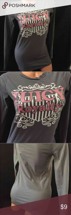 Medium JUICY COUTURE Graphics Tee Top Brand:Juicy couture  Color is gray long sleep The graphic designs are white with pink glitter logo graphic Size:Medium  Material.  100% cotton Condition: good used condition  #P-130 Juicy Couture Tops Tees - Long Sleeve