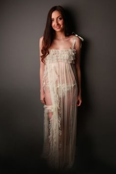Trousseaux Lingerie long bridal gown with heaps of ruffles and shirring