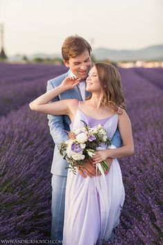 Engagement session in a lavender field in Provence from Laura Dova Weddings