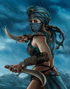 Arabian covert female warrior.