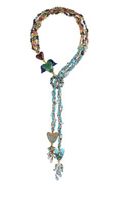 Jewelry Design - Multi-Strand Lariat-Style Necklace with Czech Glass Beads, Gemstone Beads and Seed Beads - Fire Mountain Gems and Beads