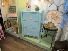 Hand Painted Vintage Chest of Drawers Dresser...Shabby Chic Distressed...Carolina Blue