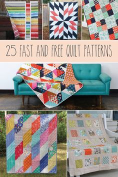 Sewing Quilts 25 Fast and Free Quilt Patterns - These 25 Fast and Free Quilt Patterns are perfect for quick quilting and the patterns are all free! These quilts would be great beginner projects as well. Quilting For Beginners, Quilting Tips, Quilting Tutorials, Quilting Projects, Quilting Designs, Sewing Projects, Beginner Quilt Patterns Free, Patchwork Quilting, Beginner Quilting