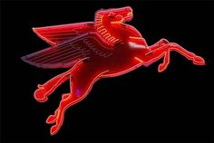 1950's Mobil Oil Pegasus porcelain neon sign with animated neon.