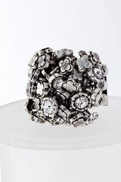 CRYSTAL CLUSTER stretch ring - Clear Stones