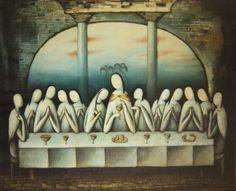 Jan Zrzavý - Poslední večeře Christianity In Japan, Last Supper Art, Ant Art, Dark Art Drawings, Biblical Art, Spirited Art, Christian Inspiration, Les Oeuvres, Home Art