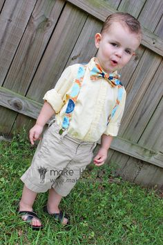 Great tutorial on how to make a bow tie and suspenders. Too cute!