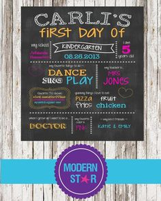 First Day Of School Chalkboard Sign Printable  by ModernStarPrint, $12.00