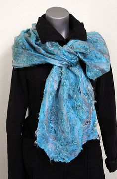 Felted eco-friendly light warm silk scarf woman lacy lace unique designer felt turquoise blue silver unique eco fur wearable wrap wool gift