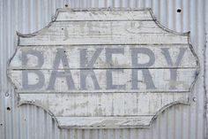 Vintage Bakery Sign - use leftover pieces of tongue and groove boards to make this