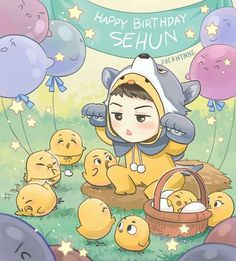 Happy Birthday EXO maknae Oh Sehun~ —- (Conffession here, I can't really add details here since today is such a chaos -with work etc etc I only have very limited time to draw it. It supposed to be spring theme, since Sehun's birthday is when. Kpop Exo, Kokobop Exo, Chibi Exo, Anime Chibi, Sehun Birthday, Happy Birthday, Art Birthday, Birthday Nails, Chanbaek