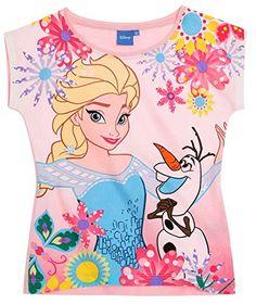 Camiseta Manga Corta Niña Frozen Elsa y Olaf rosa 4A 10Años Rosa rosa #camiseta #starwars #marvel #gift