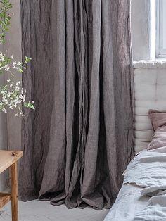 Dark green linen curtains Linen curtain in green Forest