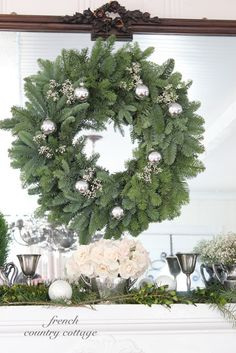 Simple Christmas Wreaths - You know sometimes just a simple little touch of Christmas is all that is needed to bring that cheer and holiday feeling to a room . French Country Christmas, Cottage Christmas, French Country Cottage, Green Christmas, Rustic Christmas, Simple Christmas, Beautiful Christmas, Winter Christmas, Xmas