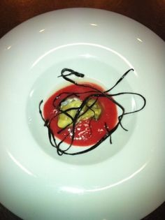 oyster on blood orange cream with sea spaghetti (Tapas in Spain)