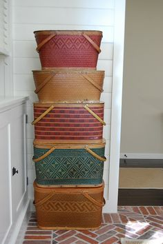 great movable storage idea for a small space...the girl is craftee: a tisket, a tasket, a green and yellow basket