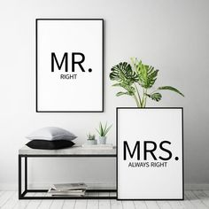 poster set mr right mrs always right sw