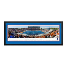 """Boise State Broncos 18"""" x 44"""" 50-Yard Line Deluxe Framed Panoramic Wall Art"""