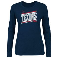 59675ee40 Houston Texans Women s Jazzed Up Scoop Neck Long Sleeve T-Shirt - Navy Blue