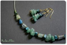SHAYLEE - Green AGATE ethnic and turquoise  jewelry SET £12.00