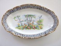 0283f2aba35 Vintage Royal Albert Bone China - Silver Birch - Made in England - Oval  Dish - circa 1945
