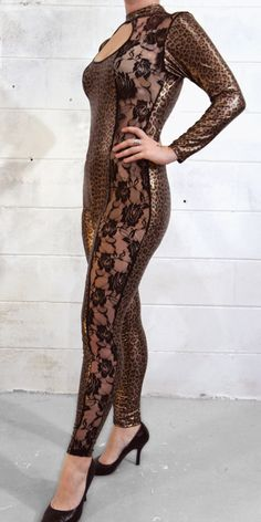 Leopard Print Body Stocking Catsuit #catsuit #costume #cosplay #lace