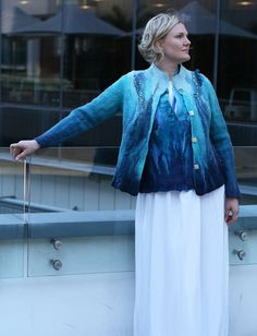 Items similar to Fashion style hand made merino wool jacket. on Etsy Blue Jacket, White Jumper, Beautiful Hands, Sustainable Fashion, Plus Size Outfits, Merino Wool, Ballet Skirt, Turquoise, Fashion Outfits