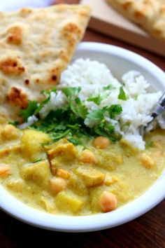 Instant Pot Yellow Chicken Curry and Jasmine Rice--a thai-style coconut curry. Bonus: The jasmine rice is cooked at the same time and in the same pot!