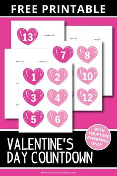 FREE Valentine's Day Countdown Printable Valentine Activities, Valentine Crafts, Valentines Day, Homeschool Transcripts, Greatest Commandment, Bible Resources, Day Countdown, Bible Study For Kids, Valentine's Day Printables