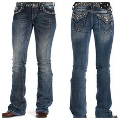 """Miss Me Stud and Crystal Jeans Size 27.  98% cotton 2% elastin.  Measures about 14"""" across the waistband, 34"""" inseam and 7 1/2"""" front rise.  Bootcut, 5 pocket design, back pocket button closure.  Crystal and studs embellish the back pocket flaps, waistband and front pockets.  No tags but, never worn.  Light manufacturer distressing.  No trades. Miss Me Jeans Boot Cut"""