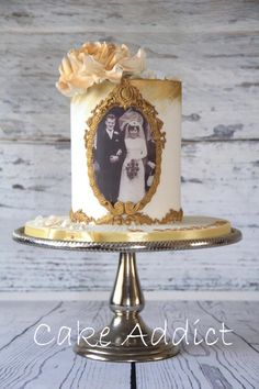 could decorate a cheap candle this way~~Golden Anniversary Cake - Cake by Cake Addict