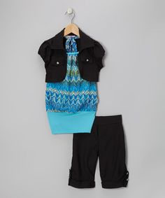 Take a look at this Turquoise & Yellow Zigzag Shorts Set - Toddler & Girls by Citlalis Choice on #zulily today!
