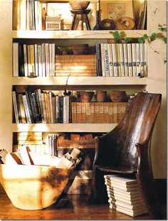 I love the chair made from a log.  Dark Stain :).  Pure Style Home: Vines Indoors