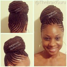 Cornrows w/ Individuals. Shout out to this is her favorite braided updo and it looks good on her! Box Braids Hairstyles, My Hairstyle, African Hairstyles, Black Girl Braids, Girls Braids, Braid Updo Black Hair, Braided Mohawk Black Hair, Beautiful Braids, Gorgeous Hair