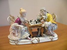 VINTAGE DRESDEN LACE GROUP STATUE MAN & WOMAN PLAYING CHESS ROCOCO STYLE