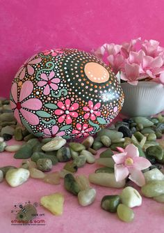 Mandala Inspired Design, Rock Art, Hand Painted Rock, ethereal & earth - otherworldly & of this world creations - pink persuasion collection #25 - $44 with display stand - shipped FREE in the USA!