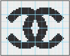 Embroidery Alphabets Bracelets Logo Chanel - got to do this in needlepoint Tapestry Crochet Patterns, Bead Loom Patterns, Beading Patterns, Cross Stitch Charts, Cross Stitch Designs, Cross Stitch Patterns, Chanel Logo, Knitting Charts, Knitting Patterns
