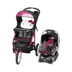 Hello Kitty Travel System Baby Jogging Stroller Pram Carseat Combo Nursery Buggy #HelloKittyStrollerandCarSeat